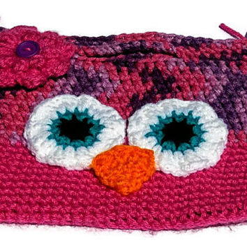 Girls Owl Crochet Handbag Pink and Purple