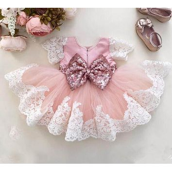 Cute Lace knee-length beading flower girl dress with bow communion frocks kids baptism prom ball gowns for formal occasion