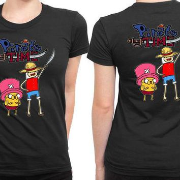 DCCK7H3 Adventure Time Piratetime Anime 2 Sided Womens T Shirt