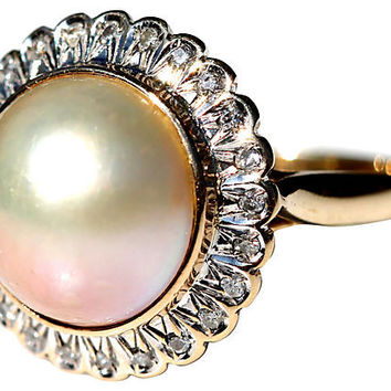 14K Gold, Pearl & Diamond Ring
