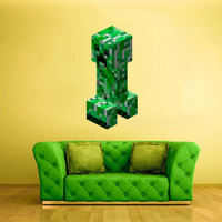 Full Color Wall Decal Vinyl Sticker Decor Art Bedroom Design Mural Like Paintings Minecraft Video Game Creeper 3D view (col432)