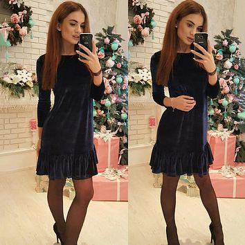 2018 Autumn Women Solid Party A-Line Dress winter Velvet warm 3/4 Sleeve O-neck Casual Dress Women Sexy Ruffle Mini Dresses