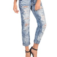 Destroyed Acid Wash Boyfriend Jeans