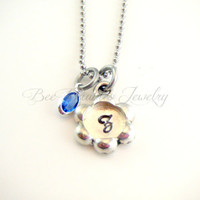 Hand Stamped Jewelry / Flower personalized necklace / Initial Jewelry