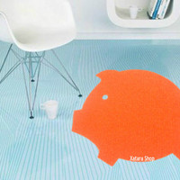 Pig rug. Floor mat with piggy silhouette. Customized