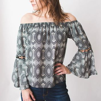 Off the Shoulder Print Bell Sleeve - Gray