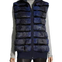Rabbit Fur Knit-Trim Vest, Navy, Size: SMALL, NAVY - Tasha Tarno