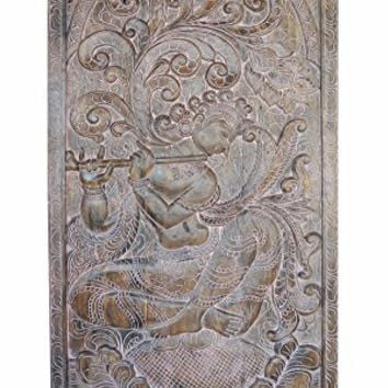 Peaceful Krishna Handcarved Vintage Fluting Krishna under Kadambari Wish Tree Wall Sculpture , Panel, Barn Door,