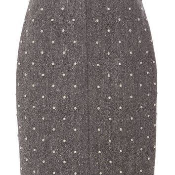 Adam Lippes Studded Pencil Skirt Grey Tweed