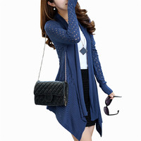 Women Long Cardigans 2016 New Autumn Hollow Out Loose Knitting Sweater Female Irregular Knitted Coat Gilet Femme Manche Longue