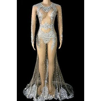 Fantasy Silver Diamante Mesh Maxi Dress (Rhinestones)
