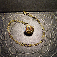 Glass Taxidermy Shark Eye Latched Wish Box Poison Hidden Locket Necklace
