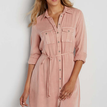 super soft shirtdress in pink clay | maurices