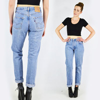 vtg 80s 90s grunge revival blue LEVIS 501 high waist waisted SKINNY leg fit jeans pants 29/30 X 32 S M
