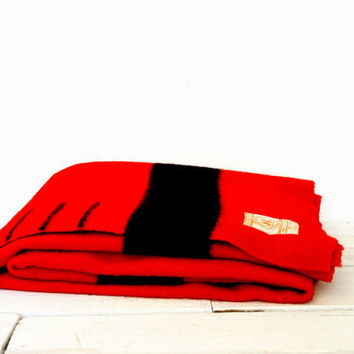 Hudson Bay 3.5 Point Wool Blanket - Red With Black Stripe Twin