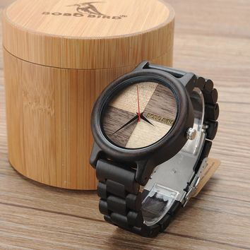 2017 Luxury Watch BOBO BIRD Wood Watches for Men Wooden Band Wristwatch with Bamboo Box relogio