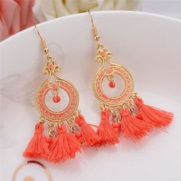 5 Colors Indian Ethnic Jewelry Earrings Gold Plated Long Plastic Beads Drop Earrings With Lines Women Christmas Gift red