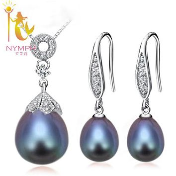 NYMPH Pearl Jewelry Set Natural Fresh Water Pearl Necklace Pendant Earrings Party Christmas Gift For Girl Women[TZ1034 ]