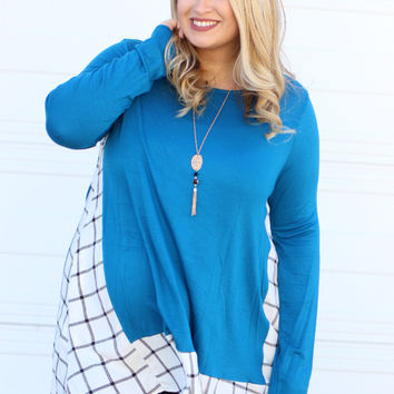 Only The Best Plaid Accented Tunic With Pockets ~ Cobalt ~ Sizes 12-18