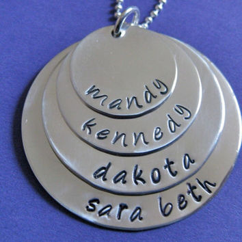 """Four Layer Hand-stamped Name Necklace in Sterling Silver 3/4"""", 1"""", 1 1/4"""" and 1 1/2""""  - great for moms or grandmas"""
