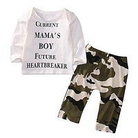 2PCS Set newborn toddlers baby clothing set Infant Kids Baby Boy Clothes Casual T-shirt+Camouflage Long Pants Outfits