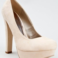 Qupid MARC-01 Chunky High Heel Platform Pump