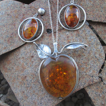 Amber Jewelry Set Brooch Earrings Inclusions Sterling Silver 41.8 grams Vintage Gift