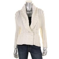 Catherine Malandrino Womens Knit Double Breasted Cardigan Sweater