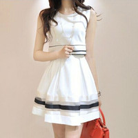 summer chiffon women pleated white dress plus size 2015 = 1947037252
