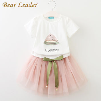 Bear Leader Girls Clothes 2017 Brand Girls Clothing Sets Kids Clothes Cartoon Cat Children Clothing Toddler Girl Tops+Skirt 2-6Y