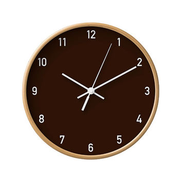 Numbers Wall Clock, Classic, Minimalist Decorative, Simple Solid Color, Modern Wall Decor, Office Wood Clock, Scandinavian, Chocolate, Brown