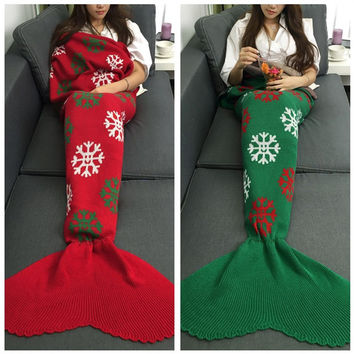 Hot Deal Birthday Gifts Christmas Knit Mermaid Sofa Blanket [9594670671]