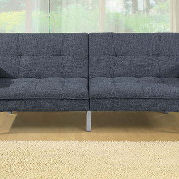 Poundex F6813 Ash black linen like fabric futon sofa bed with arms