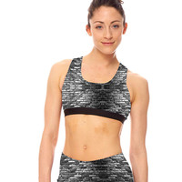 Womens Black and White Bricks Sports Bra