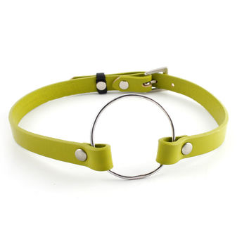 Apple Green Leather Charm Choker