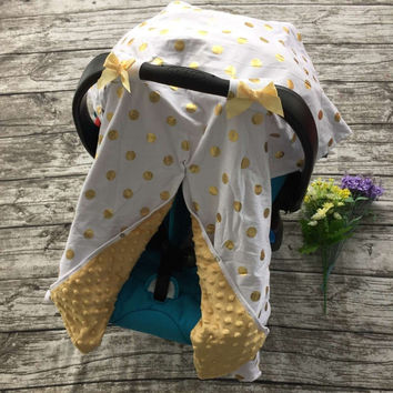 Gold and White Dot Car Seat Canopy