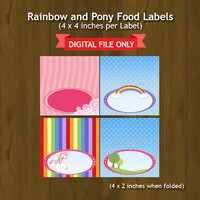 Pony and Rainbow Printable Food Labels - Ponies and Rainbows with Girl rider Food Tent Cards - Place Cards - INSTANT DOWNLOAD