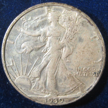 Silver Coin, 1939 USA, WW II Era Walking Liberty, Silver Half Dollar Coin, Collectible 50 Cent Silver Coin, Vintage Coin, Walking Liberty