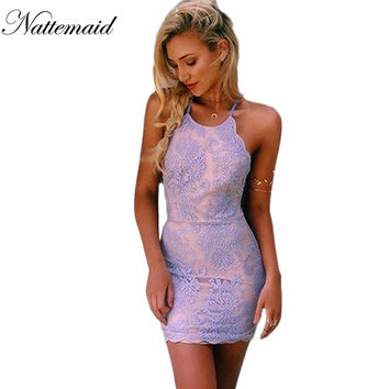 2016 Summer Style Women sundress Elegant Floral embroidery Lace dress Halter neck backless Purple Mini Bodycon party vestidos