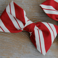 Men's Red and Cream Christmas Stripe Clip on Bow Tie