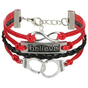 SHIPS FROM USA Infinity Bracelets Believe And Freedom Multi Layer Braided Red Leather Bracelet Handcuffs Charm Bracelets