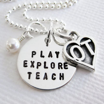 Occupational Therapy Necklace - OT Appreciation - Sterling Silver Personalized - Patricia Ann Jewelry Designs