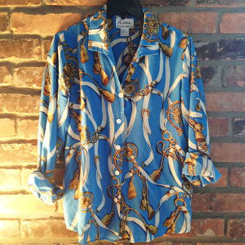 Vintage 1980s Linea by Louis Dell'Olio Printed Blouse.  Size Small, 100% Silk, Light Blue/Gold/White Strap and Chain Print Button Closure.