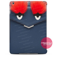 Leather Clutch with Fox Fur Navy Blue Red Eye-Fendi iPad Case 2, 3, 4, Air, Mini Cover
