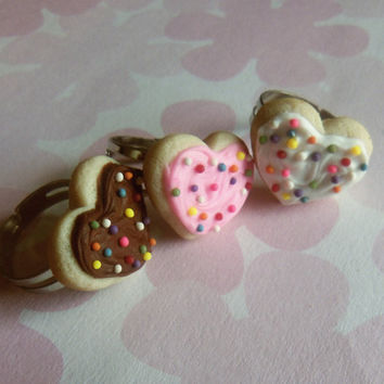 polymer clay heart shaped sugar cookie ring by ScrumptiousDoodle