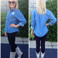 Monogrammed Ladies Long Sleeve Stonewashed Denim Shirt | Ladies | Marley Lilly