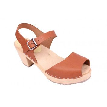 Lotta From Stockholm Classic High Heel Open Toe Clogs From Lotta in Waxed Tan Leather