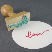 Love Rubber Stamp - hand lettered rubber stamp with calligraphy love READY TO SHIP