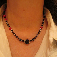 Jet Black Onyx Silver and Red Fossil Necklace with Bali Silver Bead Caps and Silver Chain