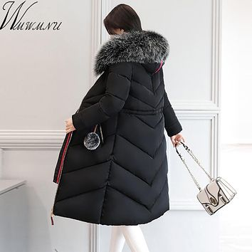 Wmwmnu Women's Winter Coat Jackets big faux fur collar Thick Warm cotton padded coat Female Fashion Casual Parkas Plus Size 6XL